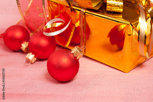 Christmas Decoration on a red