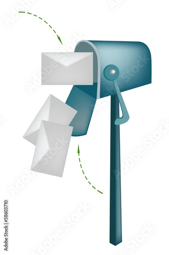 Letters and Mailbox Isolated on White Background