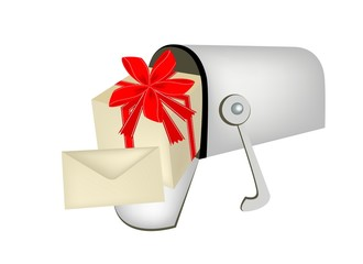 A Gift Box with Gift Card in Mailbox