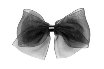 Nœud décoratif en tulle noire sur fond blanc