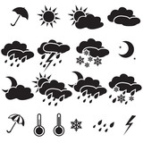 Weather Icons: sun, cloud, snow, rain