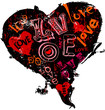 Hearts and love, super grungy, vector illustration