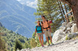 Couple is doing trekking in the mountains