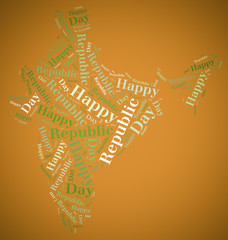 Tag or word cloud Republic Day related in shape of India