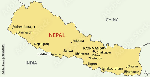 Democratic Republic of Nepal - vector map