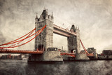 Tower Bridge in London, England, the UK. Vintage style - 58606382