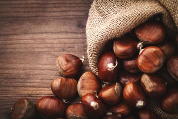 chestnuts in jute