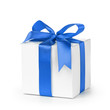 paper gift box wrapped with blue ribbon