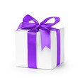 paper gift box wrapped with purple ribbon