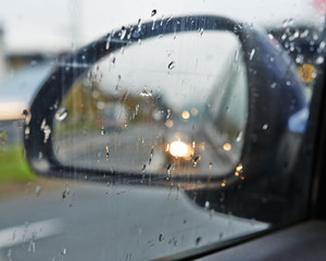 Rain on a car mirror and window