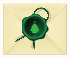 Christmas Tree wax seal vector illustration