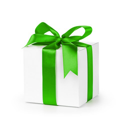 paper gift box wrapped with green ribbon