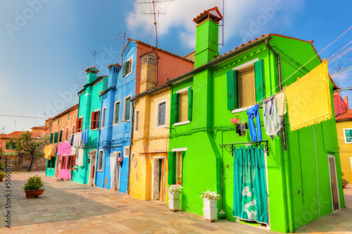 Colorful houses on Burano island, near Venice, Italy