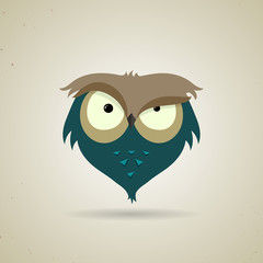 Cute little blue and grey cartoon owl