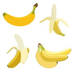 Set of bananas. Isolated on white