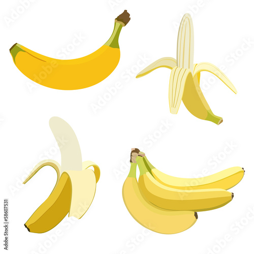Set of bananas. Isolated on white