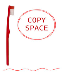 Toothbrush and toothpaste shapes - red and white, isolated