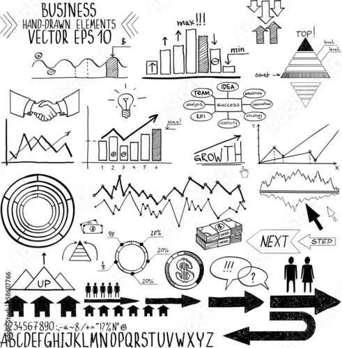 set of hand drawn business finance elements vector illustration.