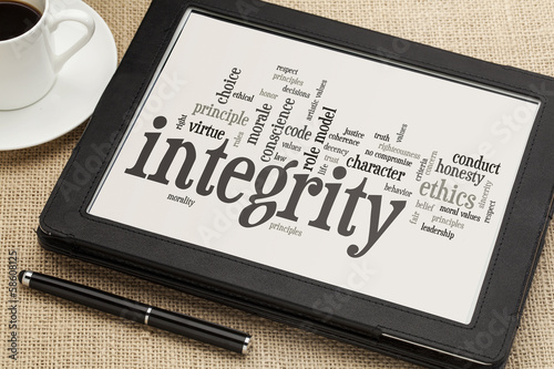 integrity word cloud on digital tablet