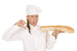 woman chef bread thumb down