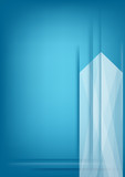 Abstract vertical white arrow on blue background.