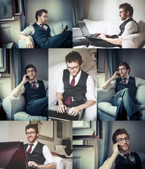 collage of stylish man using notebook and phone