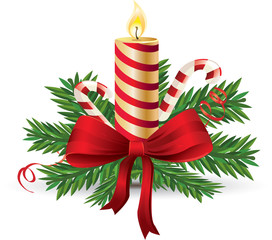 Advent candle with red bow and candy cane vector