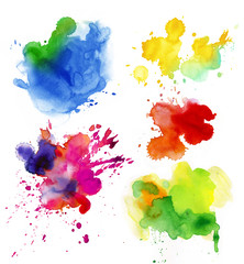 Set of watercolor drops and spray