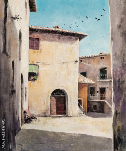 Original oil painting of Italian yard in Tuscan village