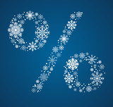 Percent sign vector font frosty snowflakes