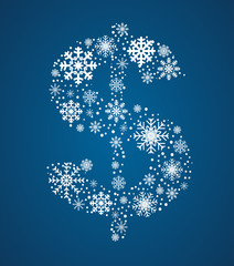 Dollar sign, vector font frosty snowflakes