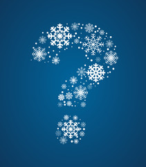 Question mark vector font frosty snowflakes