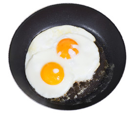 top view of fried eggs in pan isolated on white