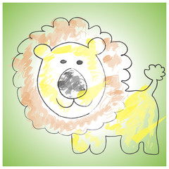 Vector colorful sketch of lion on green background