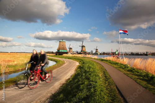 Windmills in Zaanse Schans, Amsterdam, Holland