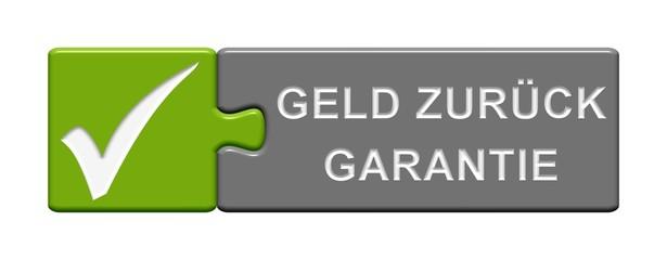 Puzzle-Button grün grau: Geld-Zurück-Garantie
