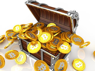 Treasure chest full of bit coin