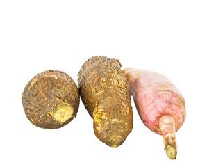Tapioca Cassava roots over white background