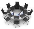 arbeitsplatz modern runder tisch