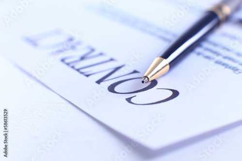 Close-up of pen on contract.