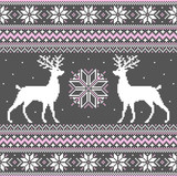 Cute winter background with deer and snowflakes