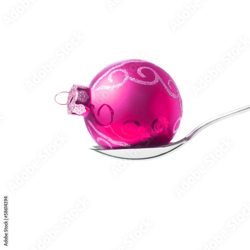 xmas ball in the spoon