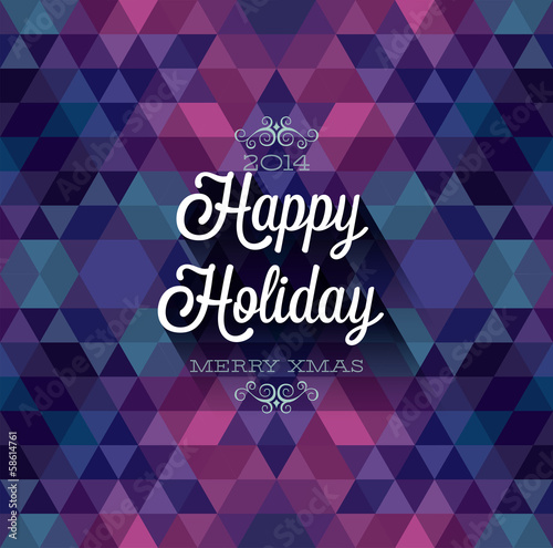 """Happy Holiday"" Poster. Vector illustration."