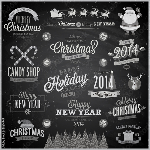 Christmas set - emblems, decorative elements - Chalkboard.