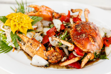 Stir fried crab with black pepper.