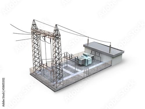Substation isolated on white background - 58615302