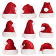 Rote Nikolausmützen - red santa hats isolated