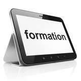 Education concept: Formation on tablet pc computer