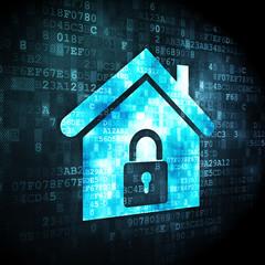 Finance concept: Home on digital background