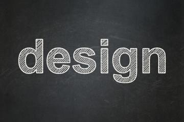Marketing concept: Design on chalkboard background